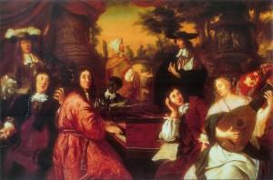Scène de musique dans un intérieur à Hambourg en 1674, tableau de Johannes Voorhout. Reinken est assis au centre au clavecin, entouré de ses amis Buxtehude et Theile.